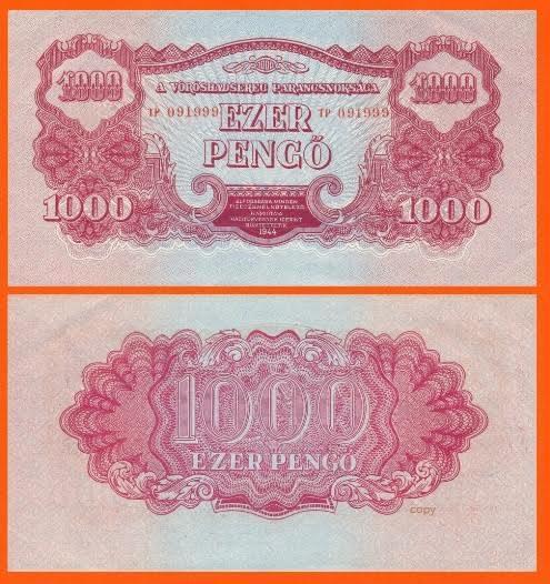 Hungary 1000 Pengo 1944.  UNC - Reproductions