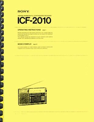 Sony ICF-2010 Shortwave Radio Operating Instructions AND Service Manual