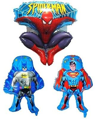 NEW 3 BATMAN SUPERMAN SPIDERMAN MYLAR FOIL BALLOON BIRTHDAY PARTY HELIUM AIR
