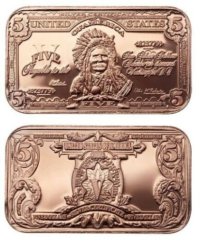 1 oz Copper Bar - $5 Indian Note