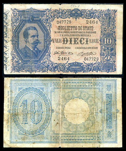 ITALY 10 LIRE 1988-1925 P 20 CIRCULATED