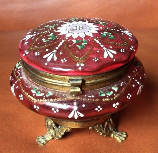 Antique Bronze Mounted Moser Bohemian Hinged Vanity Jar Cranberry Glass Enamel