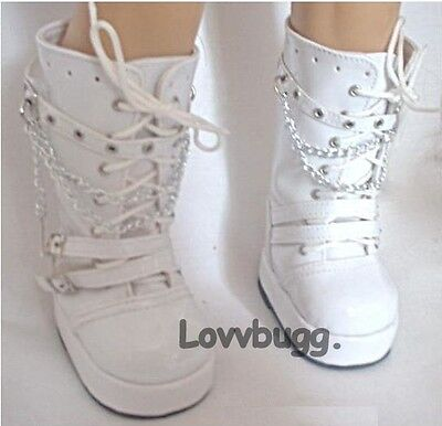 "Lovvbugg White Patent Go-Go Rocker Boots for 18"" American Girl or Bitty Baby Doll Shoes"