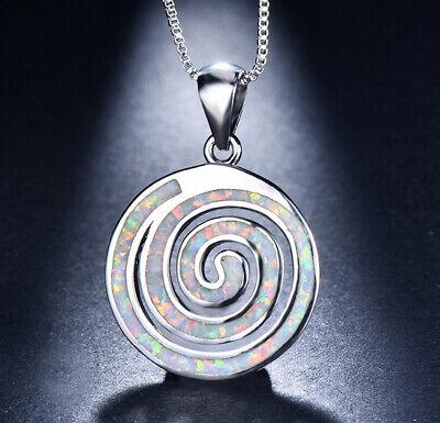 E08 Anhänger Spirale Kreis Opal Feueropal weiß versilbert inkl Kette Opale Spiral