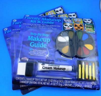 Fun World Family Makeup Kit & Guide Halloween Christmas Stage Theater Clowns x 3