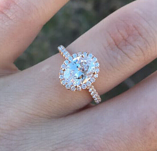 1.85 Ct. Oval Cut Halo Natural Diamond Engagement Ring Pave D, VVS2 GIA Cert 14k 5