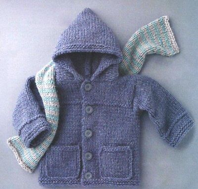 Easy Jacket Hood & Scarf 2-6 Yrs Toddler Baby Super Chunky Knitting Pattern