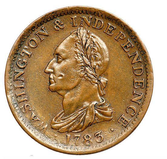 1783 B-1193 Washington & Independence Draped Bust Cent Restrike Engrailed Edge