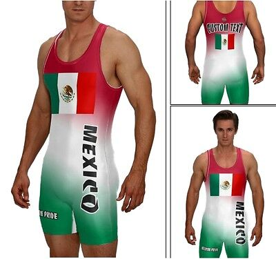 (WRESTLING SINGLET MEXICAN FLAG W/CUSTOM TEXT AREA ON THE BACK ALL INCLUDED )