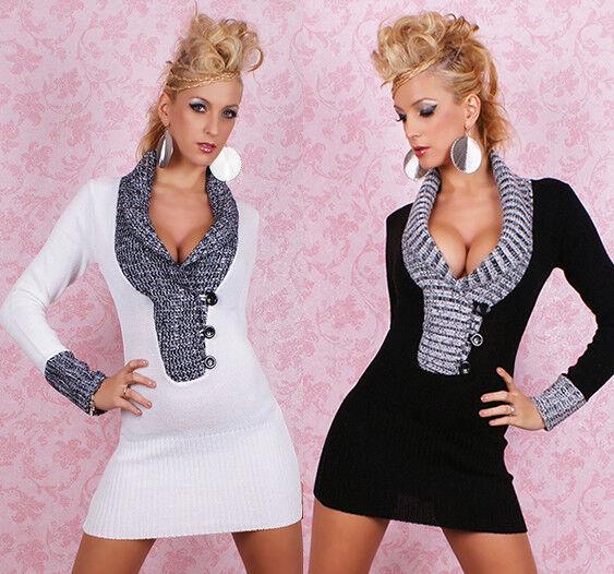Damen V-Neck Long Pullover Strick Pulli Kleid Sweater Knöpfe 34 36 38