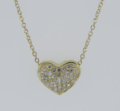 """14K Yellow Gold 0.73ct Diamond Micro Pave Heart Pendant Necklace 18"""" Chain"""