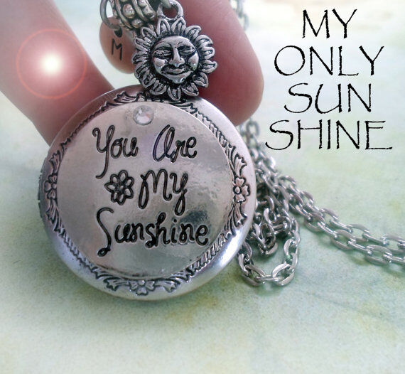 You Are My Sunshine Locket Necklace, Letter and Sun Charms, Swarovski Crystal
