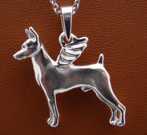 Sterling Silver Miniature Pinscher Angel Pendant
