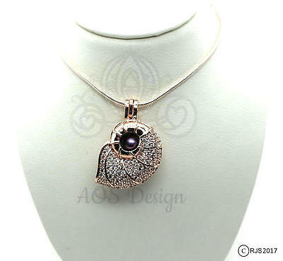 Nautilus Shell Pick A Pearl Cage Rose Gold Plated Mermaid Crystals 18