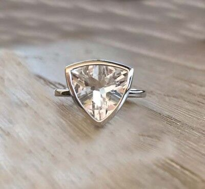 2Ct Near White Trillion Moissanite Solitaire Engagement Ring 925 Sterling Silver