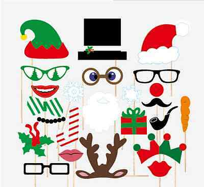 Diy Props (Christmas Photo Booth Props, 24 pcs, Attached NO DIY NEEDED, Ships Fast)