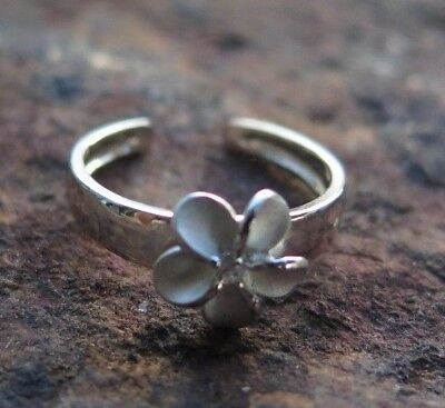 Hawaiian 925K Sterling Silver Plumeria Flower CZ Toe Ring 8mm TR1261