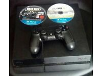 Playstation 4 with 2 games and controller, good condition ps4