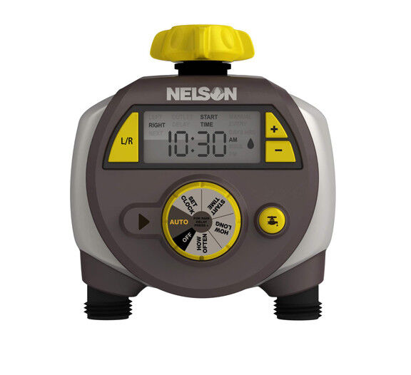 Nelson Electric Dual Outlet Hose Water Timer, Lawn & Yard Watering Control 56612