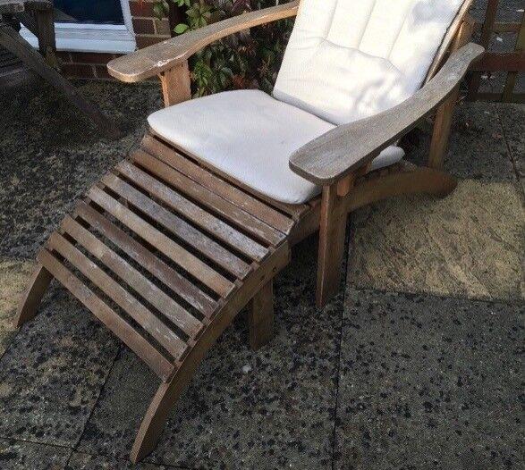 Comfy garden chair & footstool & waterproof cushion.