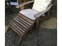 Comfy garden chair & footstool & waterproof cushion.