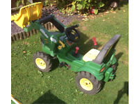 Childs John Deere tractor with front loader and trailer