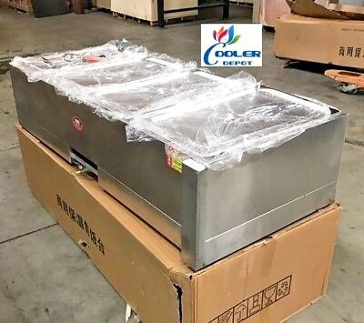 New Warmer Steam Table Food Server 4 Compartment Gas Propane Use 55 X 23 X 13