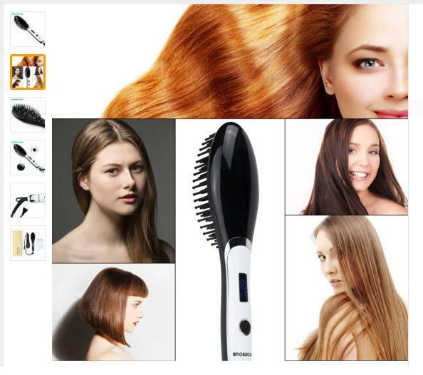 Broadcare-Hot! Professional Auto Electric Hair Straightener Comb LCD Iron Brush