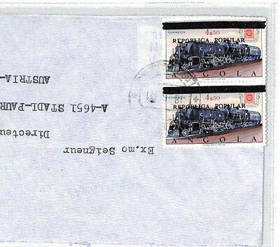BU54 1980 Angola *REPUBLICA POPULAR* Overprint 4e50 RAILWAY ENGINE Cover TRAINS