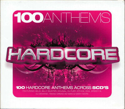 100 ANTHEMS HARDCORE - 5 X CDS 100 UNMIXED TRACKS !! RAVE OLDSKOOL CDJ CD DJ
