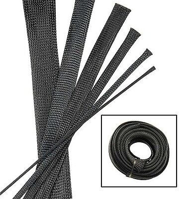 BLACK Wire and Hose Sleeve Sleeving Kit Braided Cover Loom Protector Stereo Heat