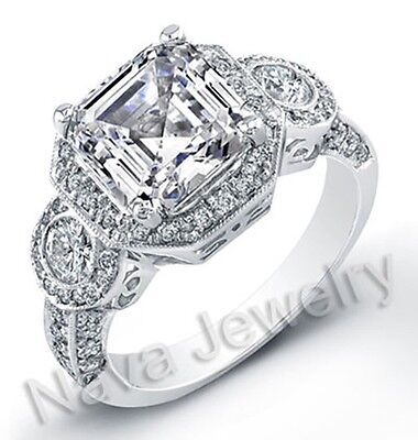 3.30 Ct Asscher Cut Diamond Engagement Bridal Ring GIA