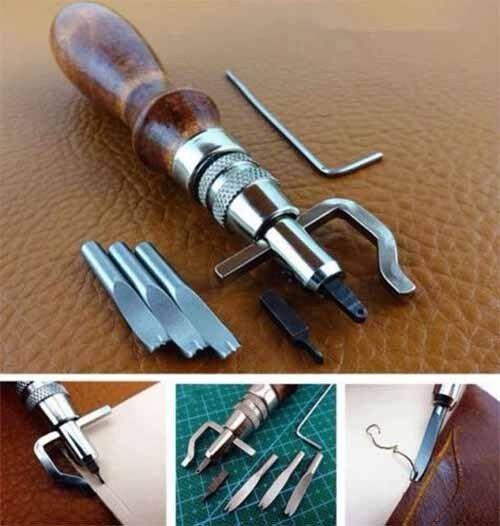 5in1 DIY Adjustable Leather Edge Stitching Groover Leathercraft Creaser Beveller