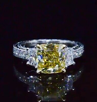 2.25 Ct Cushion Cut Canary Antique Hand Carved Diamond Engagement Ring VS1 GIA 3