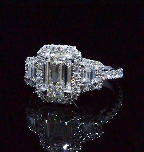2.10 Ct 3 Stone Halo Emerald Cut Diamond Eternity Engagement Ring F,VS1 GIA 14K 1
