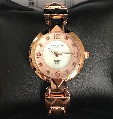 Akribos XXIV AK755RG Swiss Quartz MOP Diamond Dial Rosetone Womens Watch