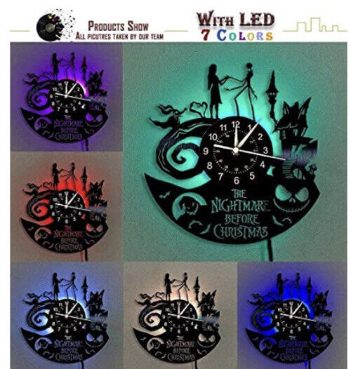 nightmare before christmas Vinyl Record wall clock 7 Colors,Music 12in Clock