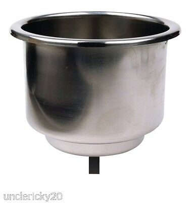 "SeaChoice Stainless Steel Recessed Drink Cup Holder w/ Drain 3-3/4"" Boat 79420"