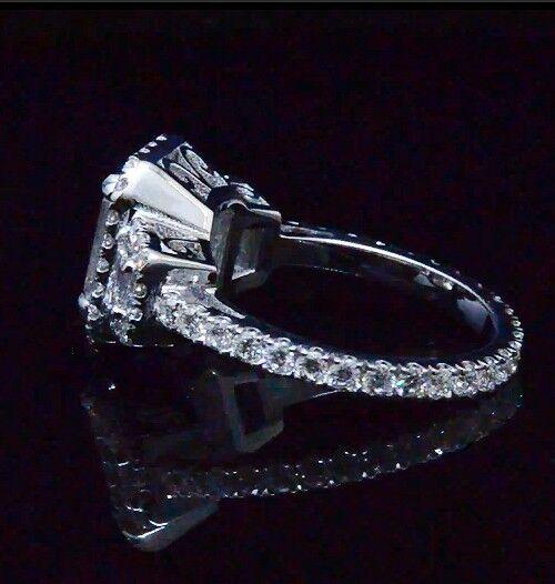 2.10 Ct 3 Stone Halo Emerald Cut Diamond Eternity Engagement Ring F,VS1 GIA 14K 2