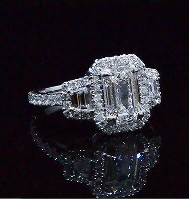 2.30 Ct. Emerald Cut & Trapezoid Eternity Diamond Engagement Ring 14K GIA G,VVS1