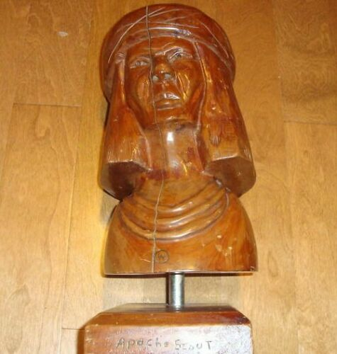 Apache Scout - American INDIAN Cigar Store Hand Carved Folk Art Wooden Statue