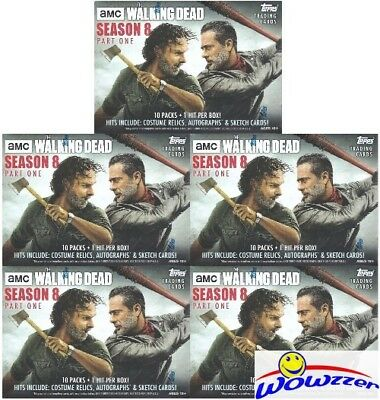 (5) 2018 Topps AMC The Walking Dead Season 8 Factory Sealed Blaster Box-5 HIT