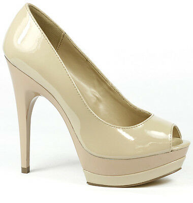 Dark Beige Patent High Heel Open Toe Double Platform Pump Delicious Scuba-S ()