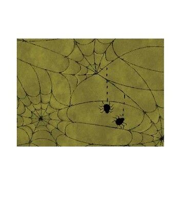 Halloween Fabric - On the Web Spiderwebs on Olive Blender - Red Rooster YARD - Halloween Spiderwebs