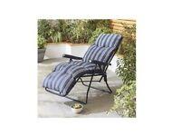 New Culcita Blue Padded Garden Relaxer chairs x 2