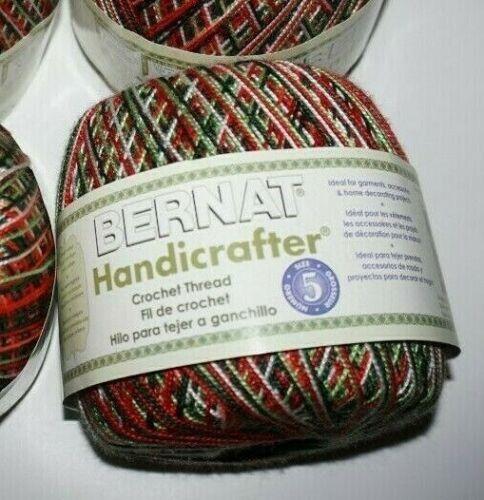 """3 Balls, Bernat, """"Handicrafter"""", Size 5, Merry Red/Green/White, Crochet Thread"""
