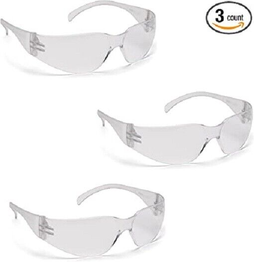 Pyramex S4110S INTRUDER Safety Glasses, Clear Lens Work Eyewear Z87, 3 Pair Pack Business & Industrial
