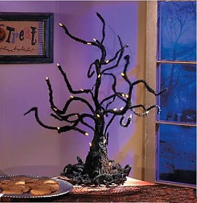 Spooky Halloween Black Dead Tree w/ Orange Flashing Lights Table Top - Spooky Halloween Tree