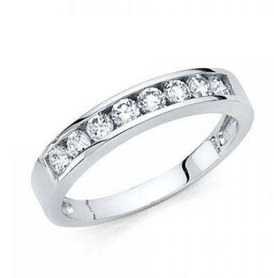 14k Solid White Gold 0.75 Ct Round Cut Diamond Wedding Band Ring Channel (Channel Set Round Cut Diamond)
