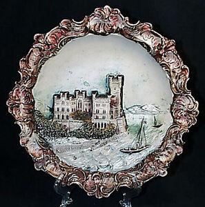 c1920-Josef-Strnact-1881-1934-Terracotta-Majolica-Castle-Sailboat-Wall-Plaque